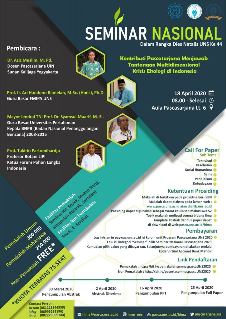 Call for Paper Seminar Nasional Pascasarjana 18 April 2020