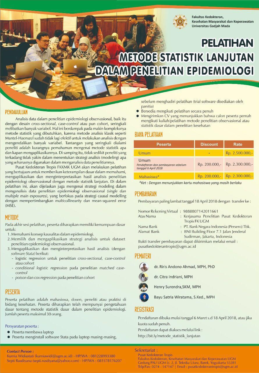 Pelatihan metode statistik lanjutan dalam epidemiologi