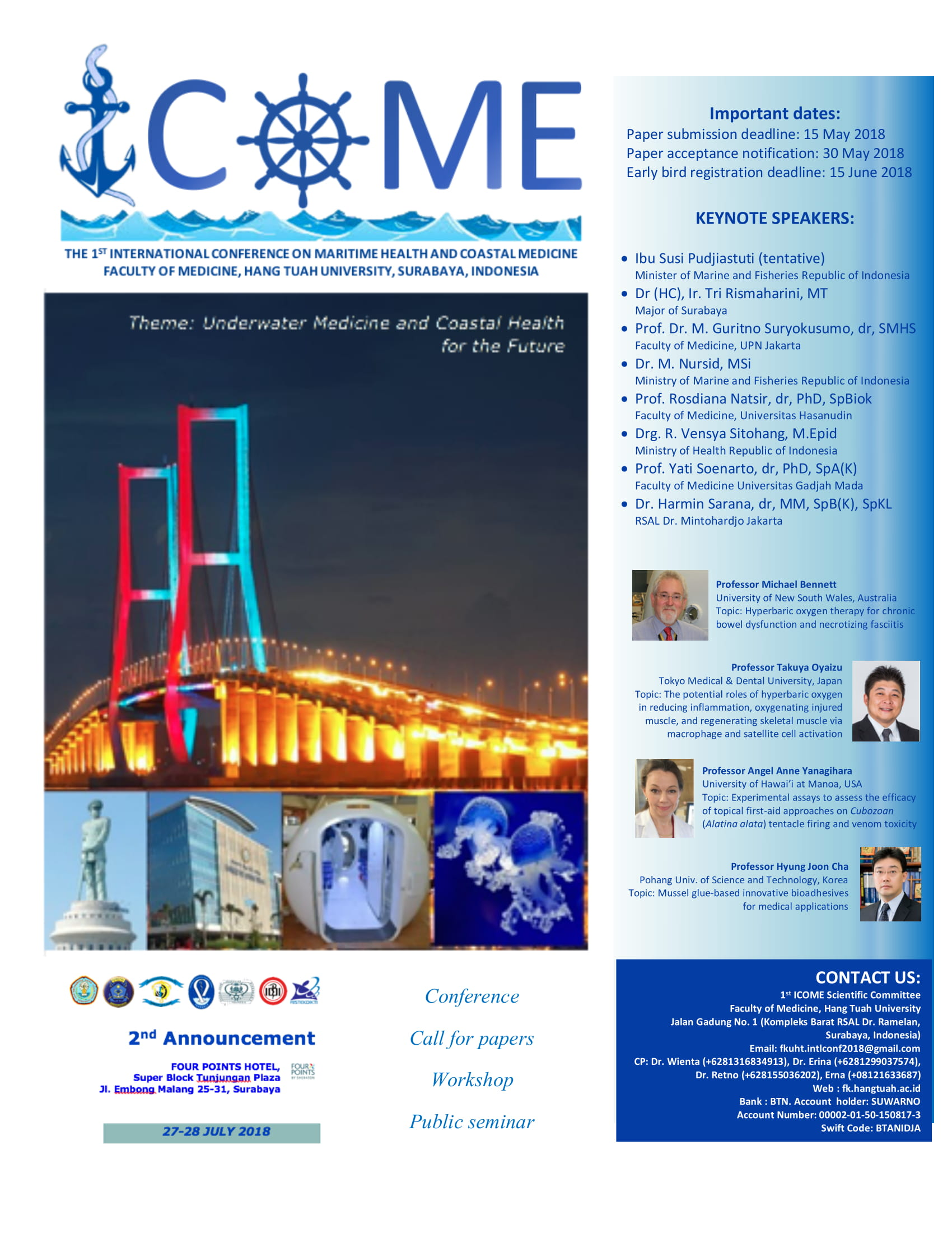 The 1st international conference on maritime health and coastral medicine faculty of medicine