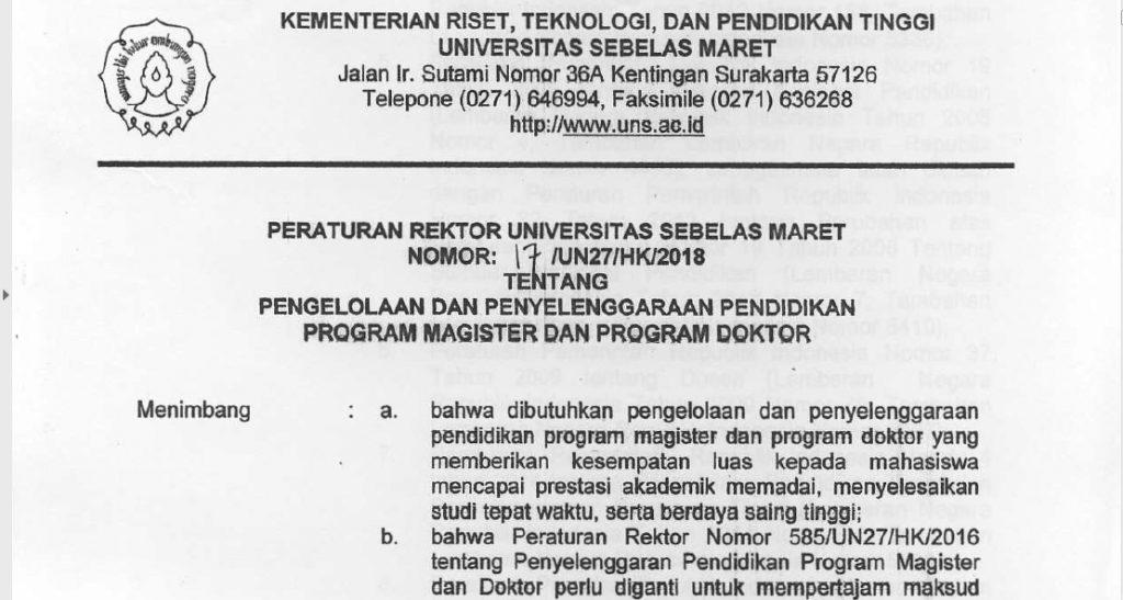 Peraturan Rektor UNS mengenai pengelolaan dan penyelenggaraan pendidikan program magister dan doktor