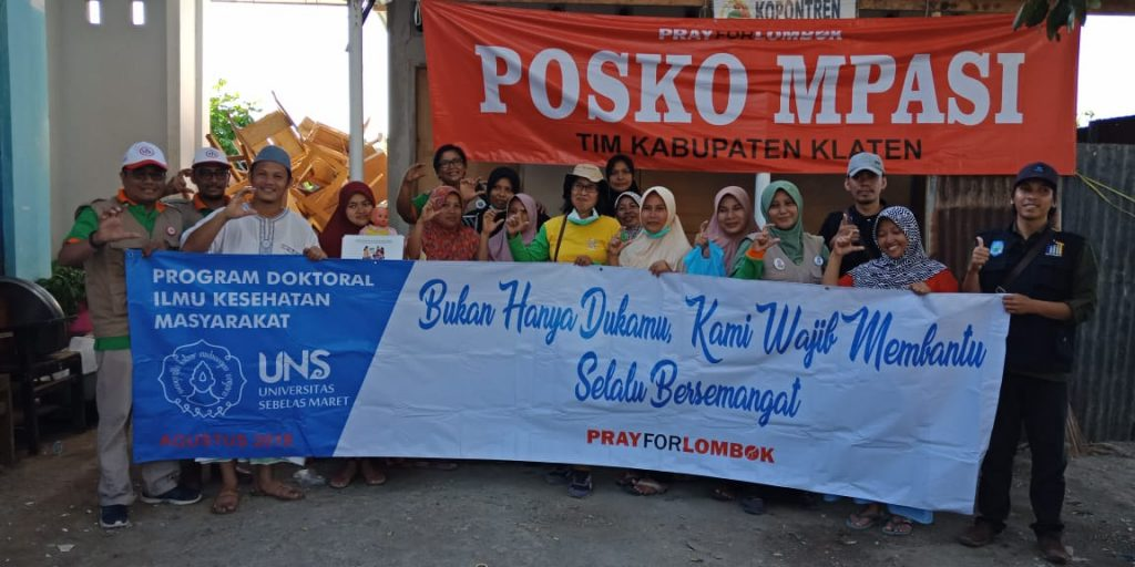 Bantuan dari S3 IKM UNS untuk korban bencana lombok