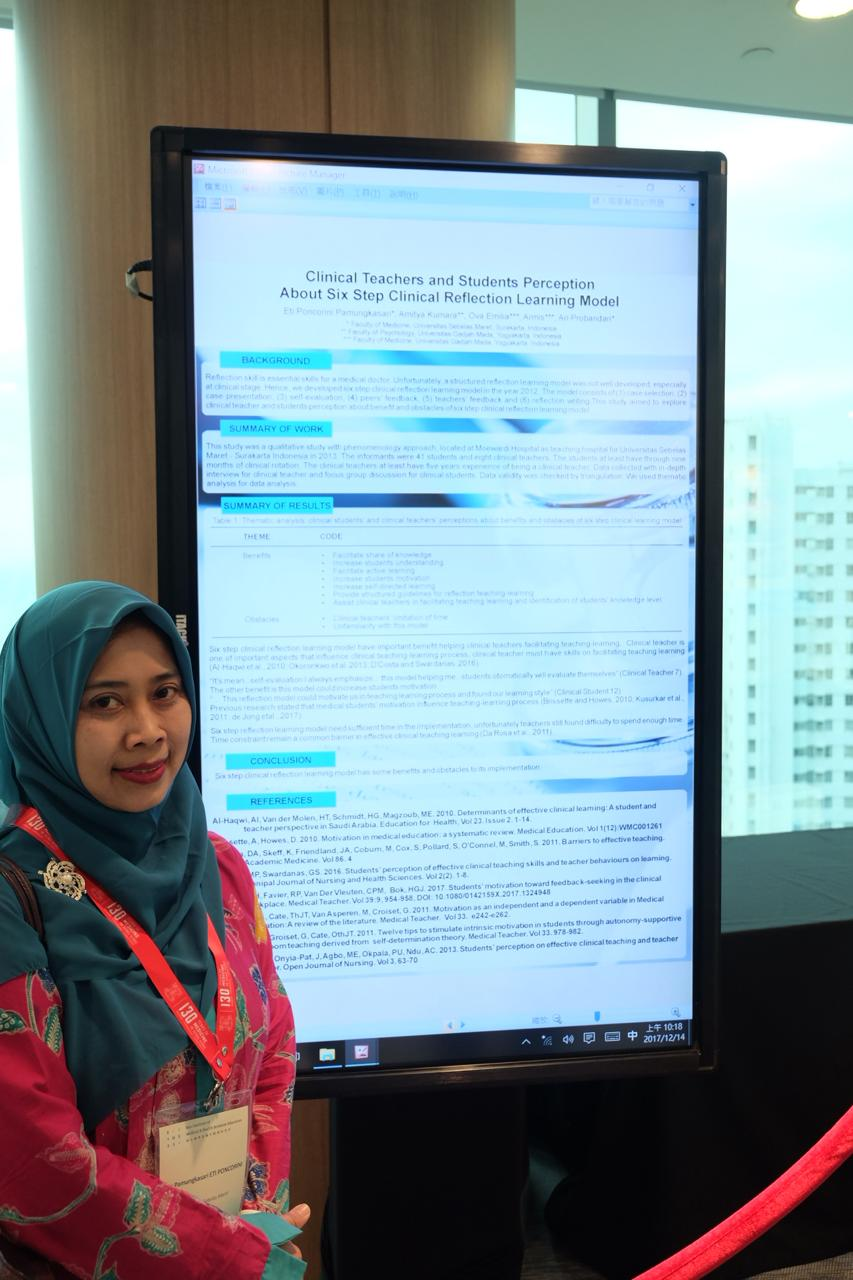 Dr Eti Poncorini Pamungkasari, dr, MPd menghadiri dan presentasi poster pada 9th Asian Medical Education Association Symposium cum Frontiers