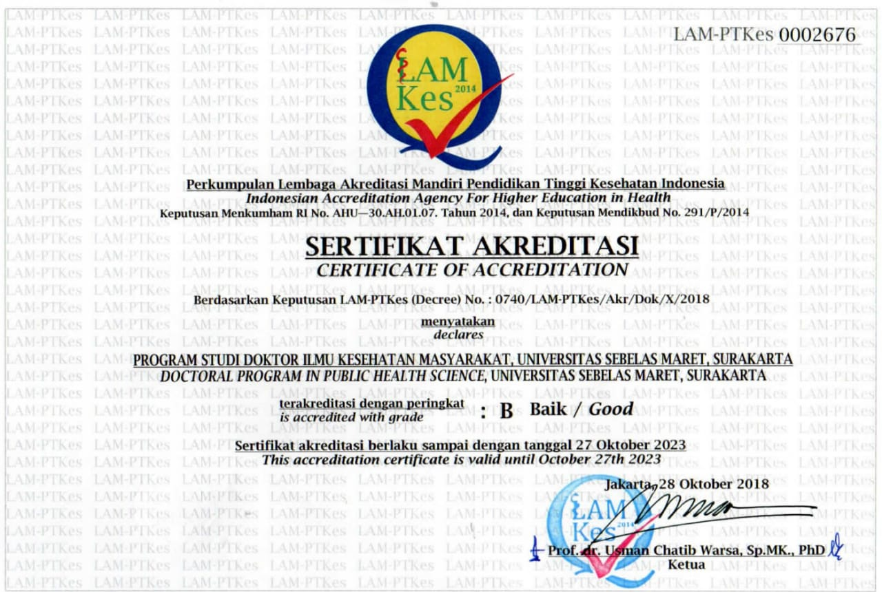 Program Studi Doktor Ilmu Kesehatan Masyarakat UNS terakreditasi B (Baik) oleh LAM-PTKes