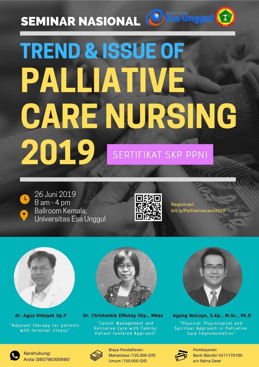 """Mahasiswa Program Doktor Kesehatan Masyarakat UNS a.n. dr. Agus Hidayat, Sp.P menjadi narasumber dalam kegiatan Seminar Nasional """"Trend and Issue of Palliative Care Nursing 2019"""""""