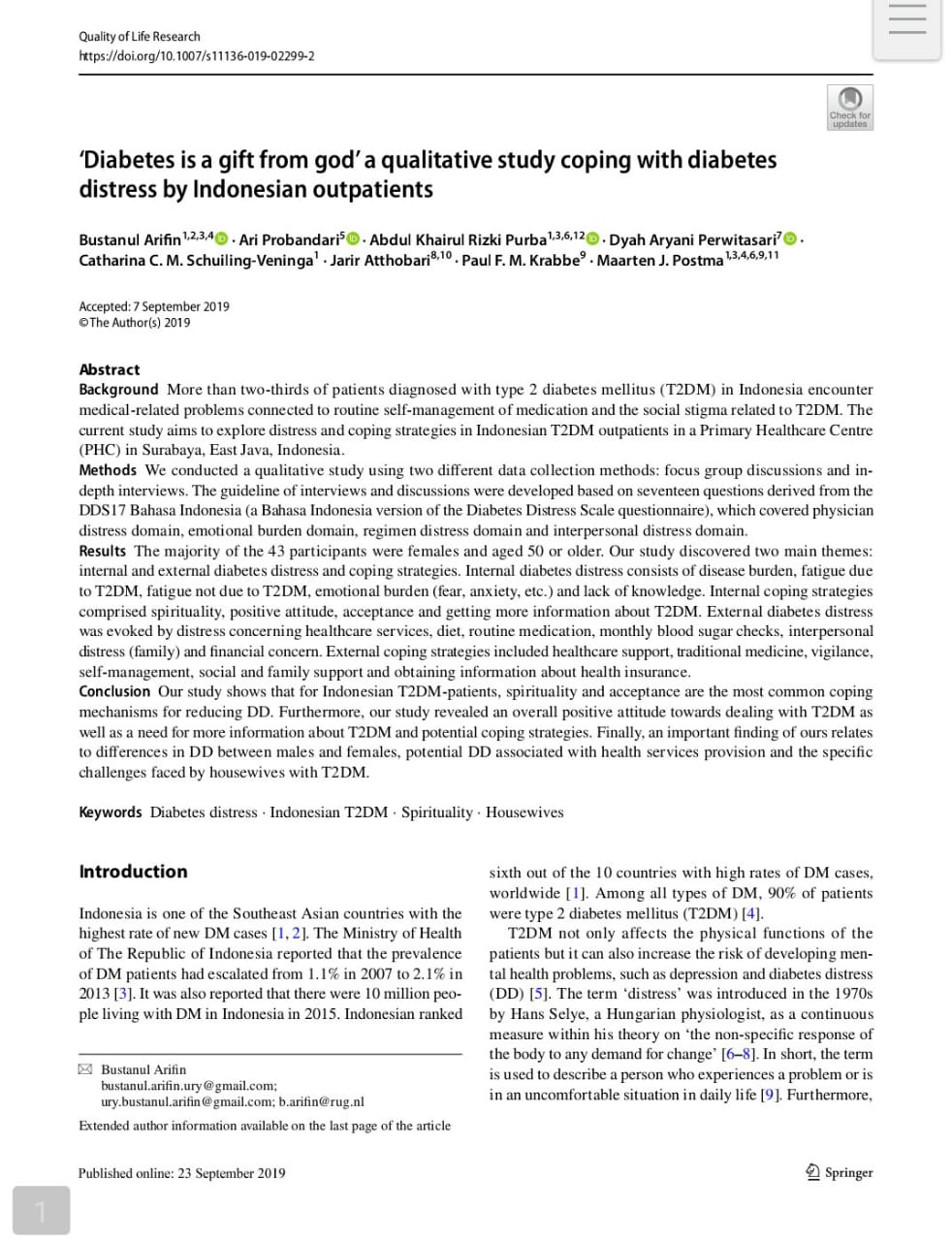 'Diabetes is a gift from god' a qualitative study coping with diabetes distress by Indonesian outpatients : Pubikasi Ilmiah Kepala Program Studi S3 IKM UNS Ari Natalia Probandari, dr, MPH, PhD