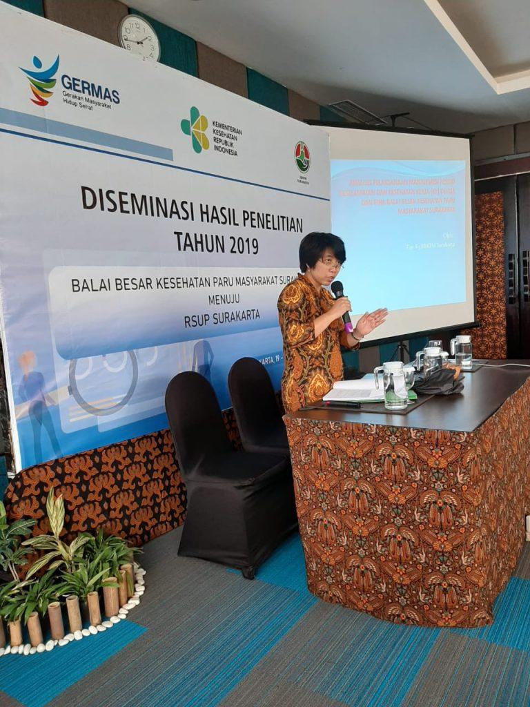 Kepala Program Studi S3 Kesehatan Masyarakat UNS Ari Natalia Probandari, dr, MPH, PhD menjadi narasumber Diseminasi Hasil Penelitian Balai Besar Kesehatan Paru Masyarakat Surakarta 2019