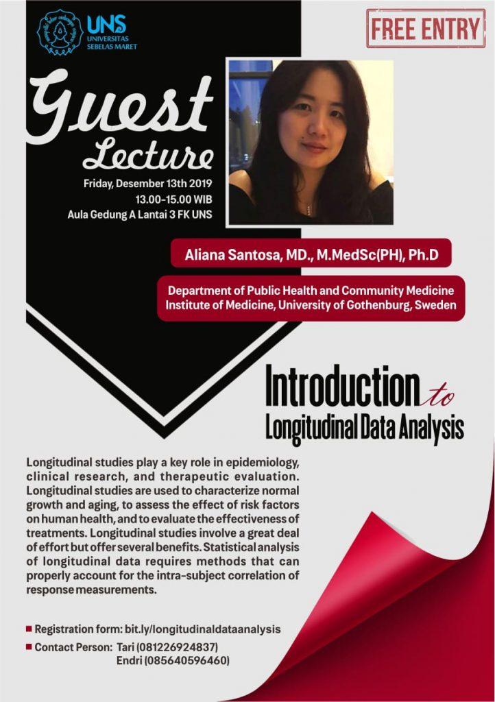Ailiana Santosa, MD, M.MedSc(PH), Ph.D dari University of Gothenberg, Swedia akan menjadi narasumber dalam Kuliah Tamu Program Studi S3 Kesehatan Masyarakat dan S2 Kedokteran Keluarga UNS