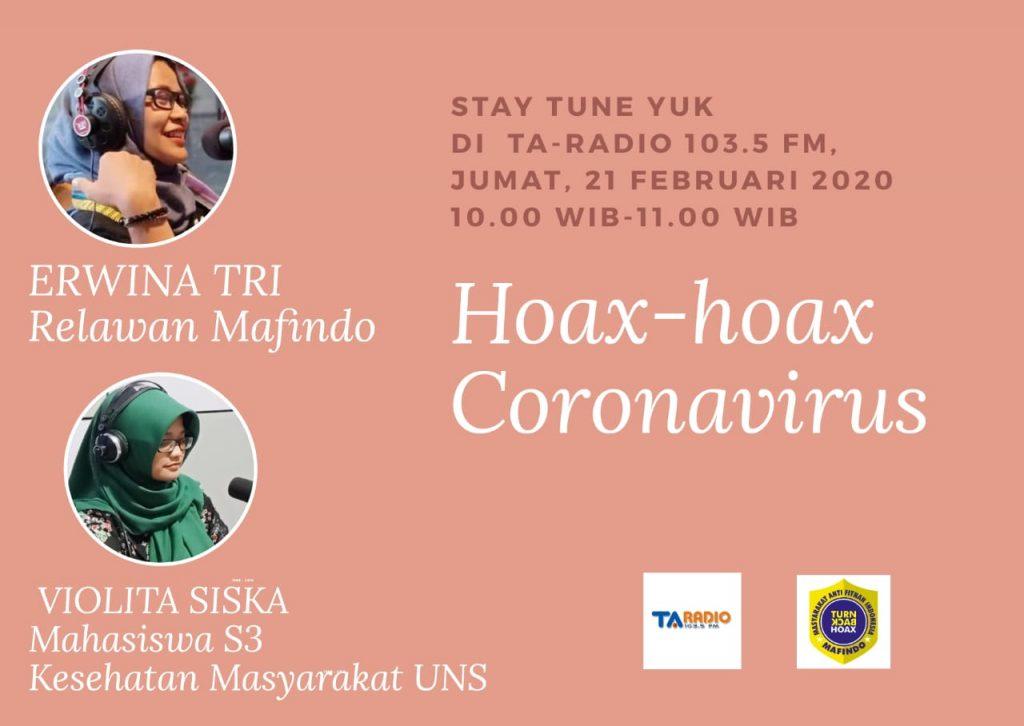 """Mahasiswa S3 Kesehatan Masyarakat UNS a/n Violita Siska Mutiara menjadi narasumber tentang """"Hoax-Hoax Coronavirus"""" di Terang Abadi (TA) Radio"""