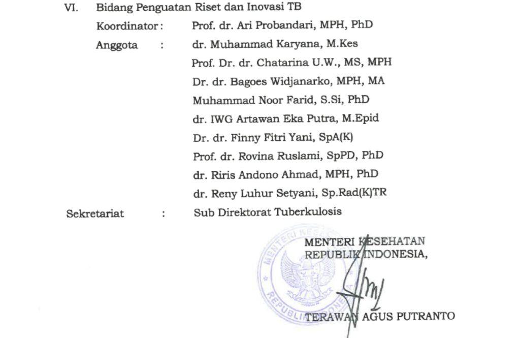 Kepala Program Studi S3 Kesehatan Masyarakat UNS menjadiAnggota Komite Ahli Penanggulangan Tuberkulosis