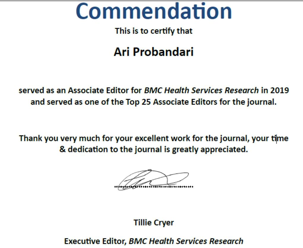 Prof. Ari Probandari, dr, MPH, PhD MendapatkanPenghargaan Top 25 Associate Editors journal BMC Health Services Research.