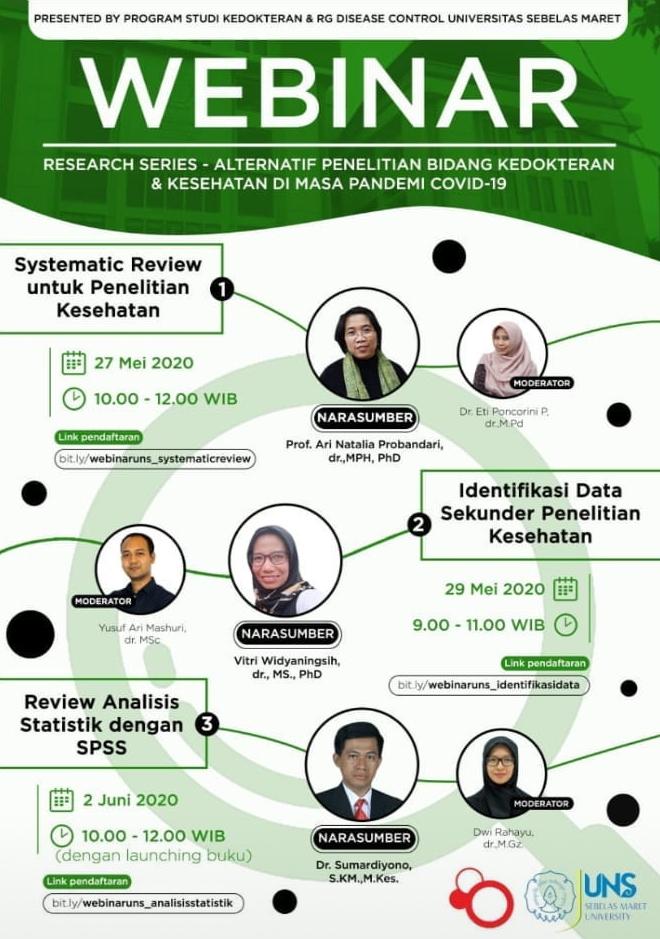 Dr. Sumardiyono, S.KM, M.Kes Dosen Program Studi S3 Kesehatan Masyarakat UNS menjadi narasumber dalam Webinar Research Series – Review Analisis Statistik dengan SPSS