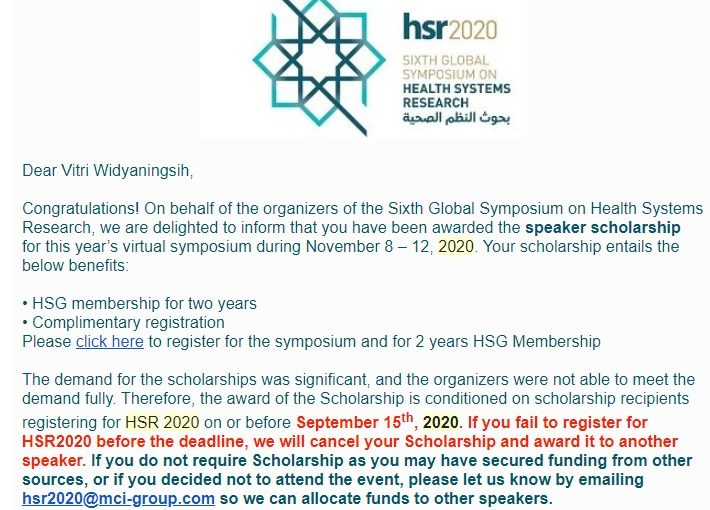 Dosen Fakultas Kedokteran UNS, Vitri Widyaningsih, mendapatkan award untuk menghadiri The Sixth Global Symposium on Health Systems Research