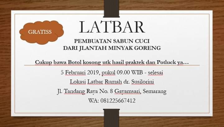 """Mahasiswa Program Studi Ilmu Kedokteran S3 A.n Susilorini sebagai narasumber """"Pembuatan Sabun Cuci dari Jlantah Minyak Goreng"""""""